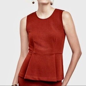 NWT Ann Taylor Petite Pleated Peplum Rust Red Top